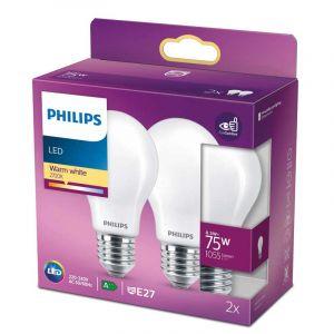2x Philips LED Standaardlamp (A60) Wit E27 8,5 Watt