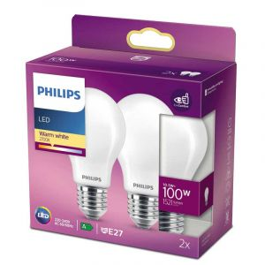 2x Philips LED Standaardlamp (A60) Wit E27 10,5 Watt