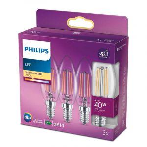 3x Philips Filament LED Kaarslamp (B35) Helder E14 4,3 Watt