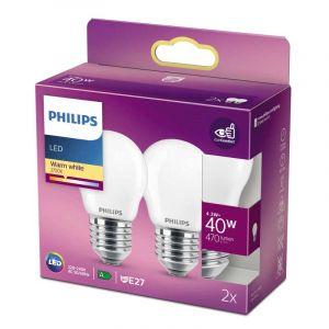 2x Philips LED Kogellamp (P45) Wit E27 4,3 Watt
