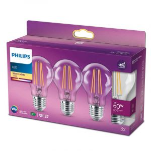 3x Philips Filament LED Standaardlamp (A60) Helder E27 7 Watt