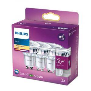 3x Philips LED Reflectorlamp (PAR16) Helder GU10 4,6 Watt