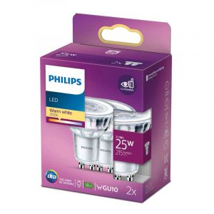 2x Philips LED Reflectorlamp (PAR16) Helder GU10 3,1 Watt