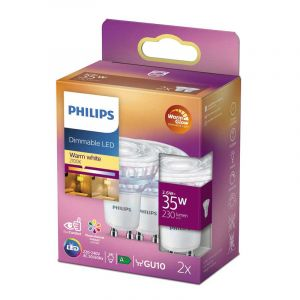 2x Philips LED Reflectorlamp (PAR16) Helder GU10 2,6 Watt