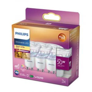 3x Philips LED Reflectorlamp (PAR16) Helder GU10 3,8 Watt
