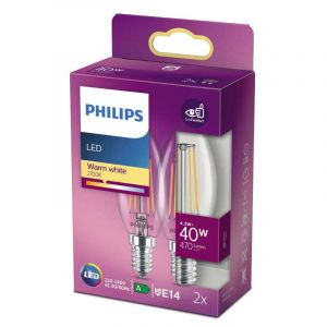 2x Philips Filament LED Kaarslamp (B35) Helder E14 4,3 Watt