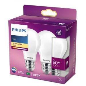 2x Philips LED Standaardlamp (A60) Wit E27 7 Watt