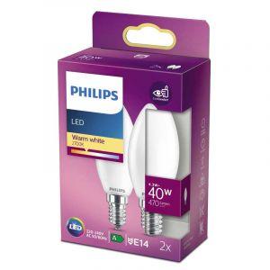 2x Philips LED Kaarslamp (B35) Wit E14 4,3 Watt