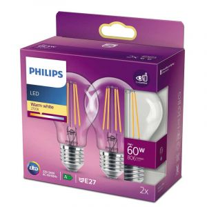 2x Philips Filament LED Standaardlamp (A60) Helder E27 7 Watt