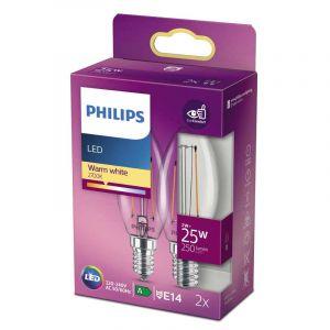 2x Philips Filament LED Kaarslamp (B35) Helder E14 2 Watt