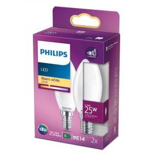 2x Philips LED Kaarslamp (B35) Wit E14 2,2 Watt