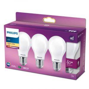 3x Philips LED Standaardlamp (A60) Wit E27 7 Watt