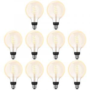 10x Philips Hue Filament White Ambiance E27 Globelamp G125