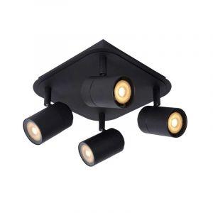Zwarte spotlamp Lennert 4-lichts voor in de badkamer