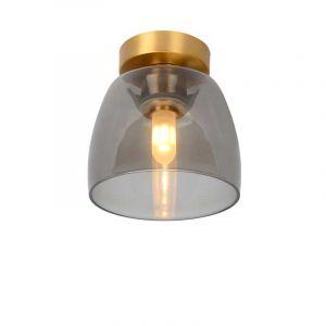 Plafondlamp Tyler van Lucide met gouden details en rookglas