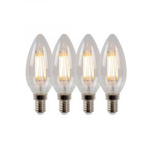 4x Lucide Filament LED Kaarslamp (B35) Helder E14 4 Watt