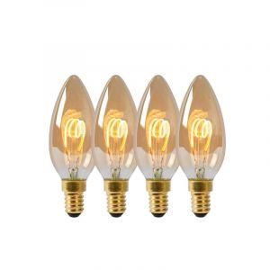 4x Lucide Filament LED Kaarslamp (B35) Amber E14 3 Watt