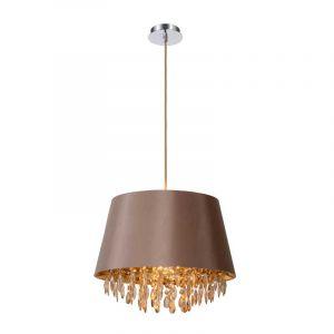 Taupekleurige Dolti hanglamp met spiegelende bedels van Lucide