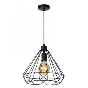 Moderne zwarte hanglamp met geometrische lijnen van Lucide