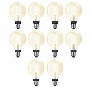 10x Philips Hue Filament Warm White E27 Globelamp 95mm