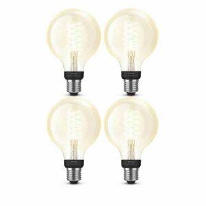 4x Philips Hue Filament Warm White E27 Globelamp 95mm