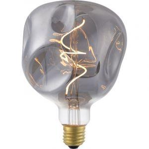 Grote globelamp gemaakt van rookglas met gedeukt effect