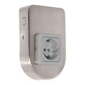 Eglo Onderbouwstopcontact met USB-lader Taxano Nikkel 94662