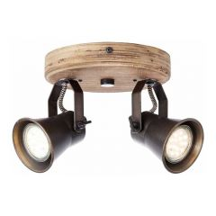 Brilliant Spotlamp Seed 2-lichts Hout 82224/46