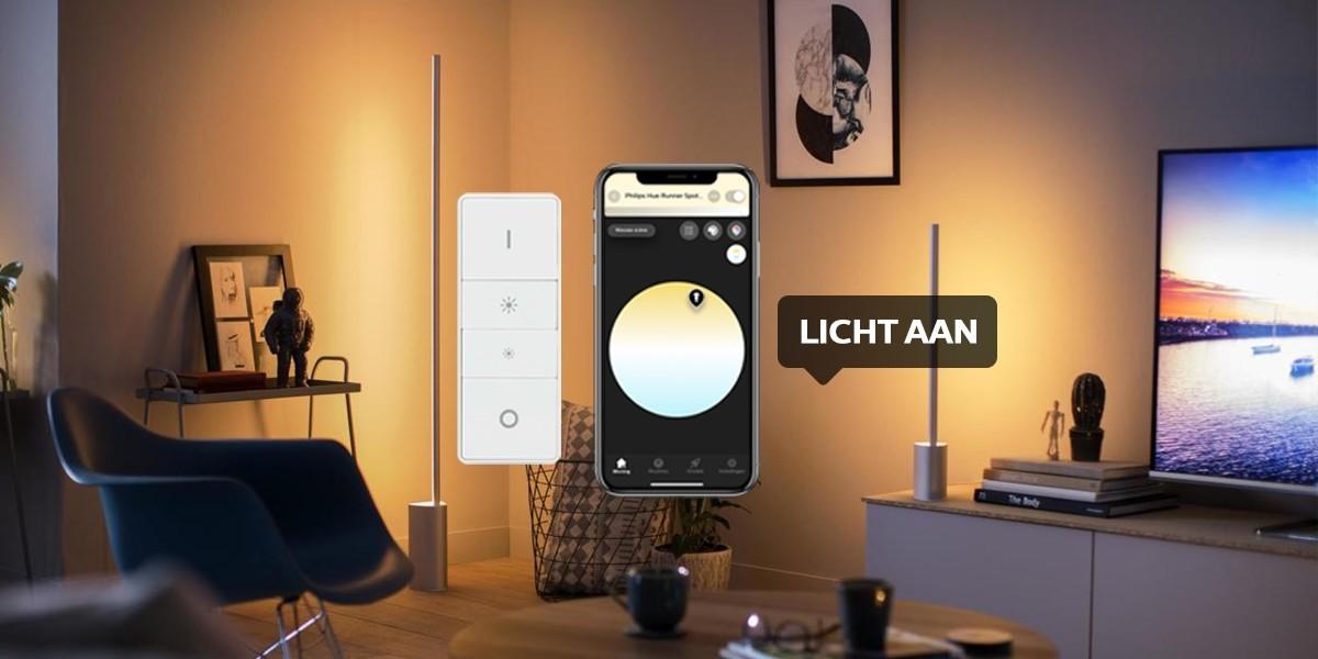 Bedien met de dim switch, de app of je stem